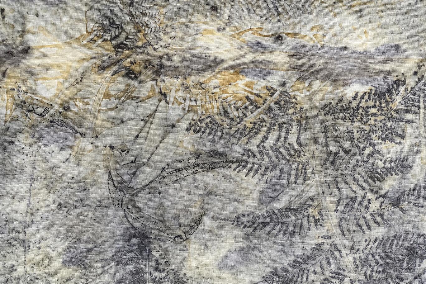print of leaf patterns on linen